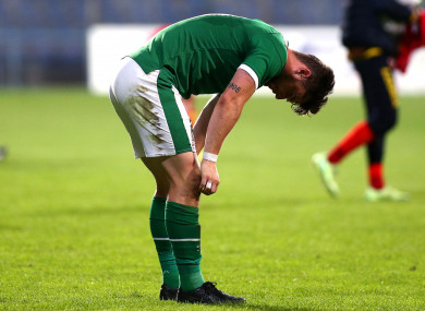 Ireland's Will Ferry at full time in Tuesday's defeat.